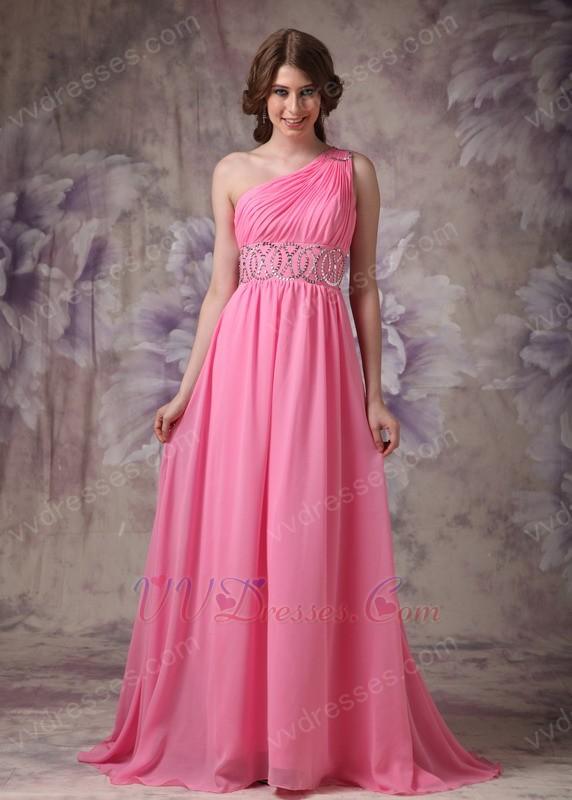 One Shoulder Skirt 2014 Top Designer Hot Pink Prom Dress