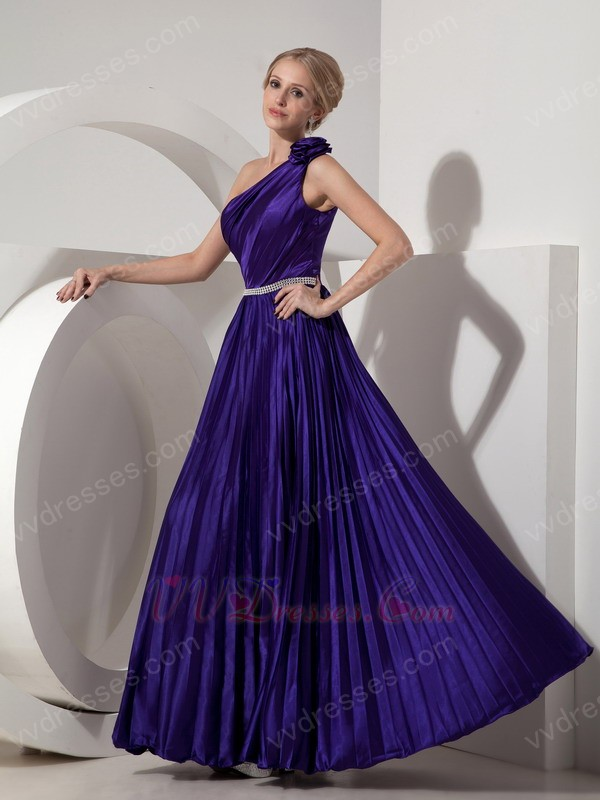 Blue Purple One Shoulder Ankle Length Pleated Prom Dress