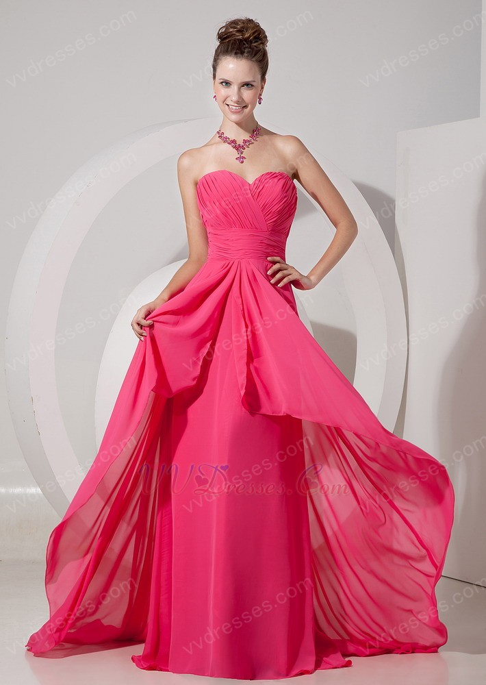 Ruched sweetheart hot pink chiffon 2014 top designer prom dress