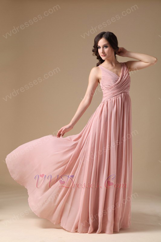 V-neck Pearl Pink 2014 Long A Female In Prom Dress