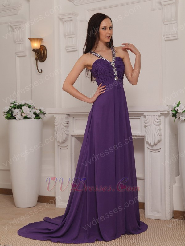 Dresses purple cross back v neck 2014 top designer prom dress