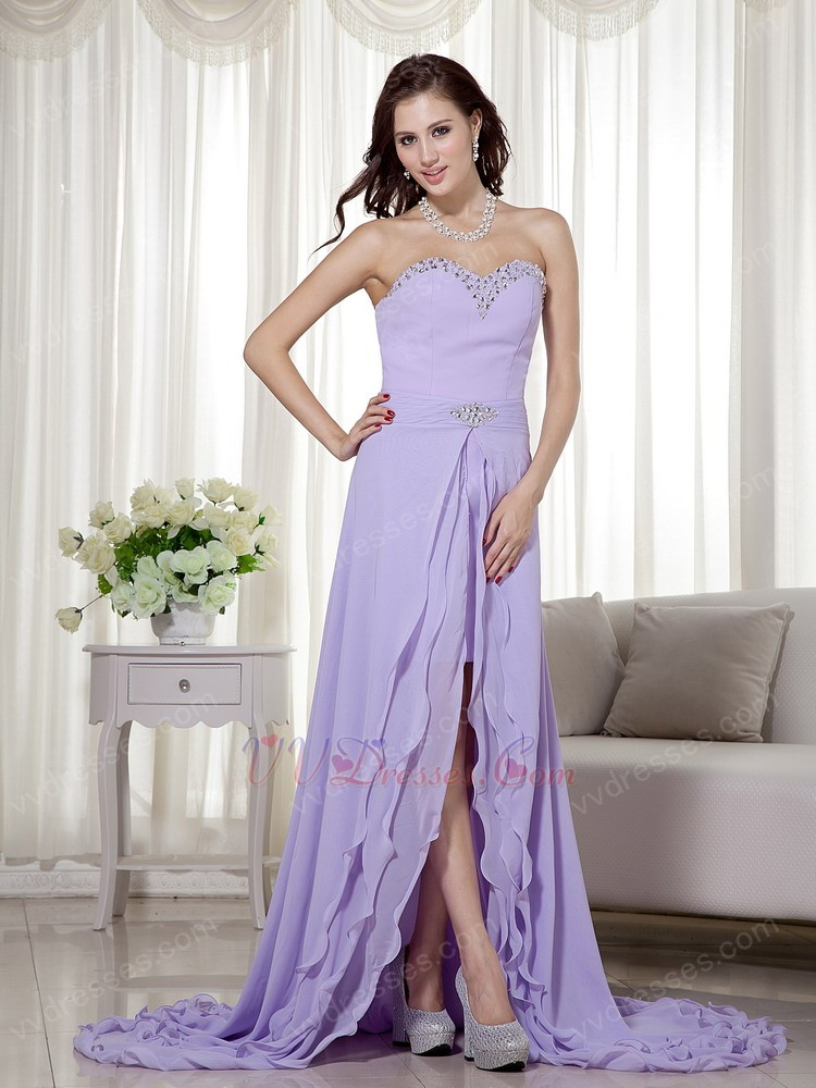 2014 new arrival lavender prom dress with detachable high