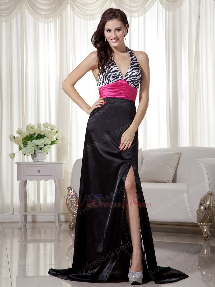 And White Printed Zebra Prom Dress With Fuchsia Sash