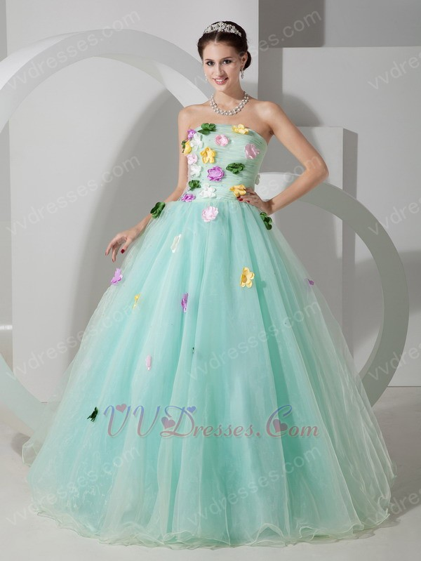 Turquoise La Femme Prom Dress With Colorful Flowers