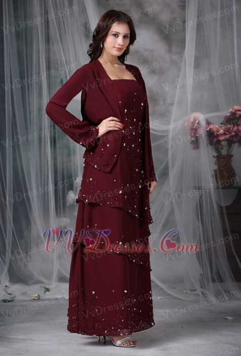 Layers Skirt Burgundy Mother Of The Bride Dress And Coat