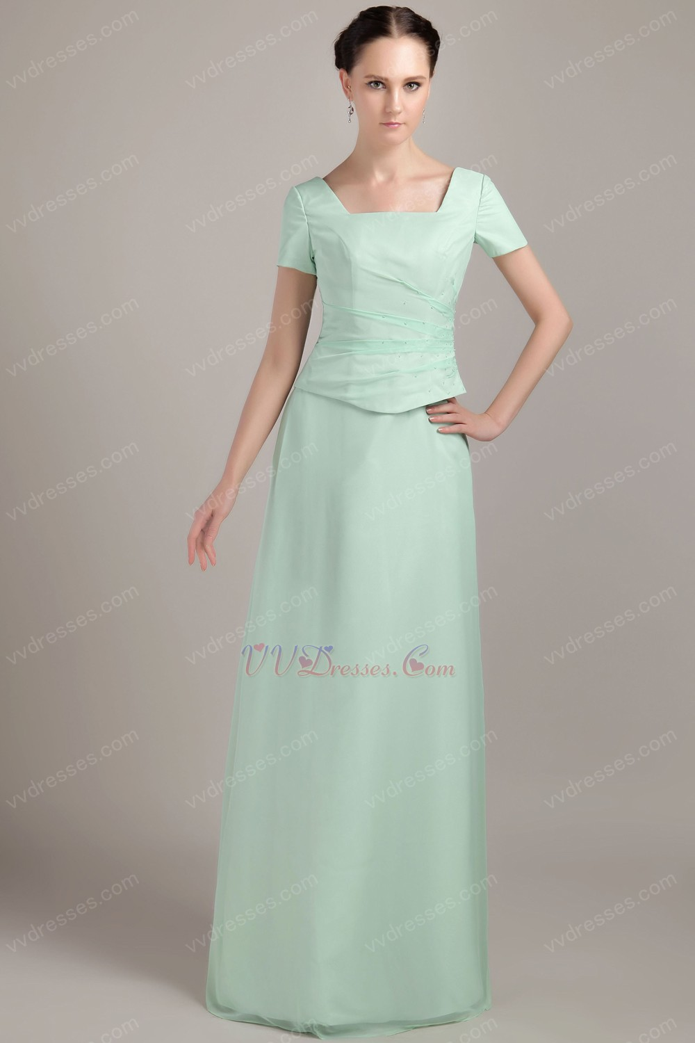 Cheap Short Sleeves Apple Green Dress For Bridal Mother