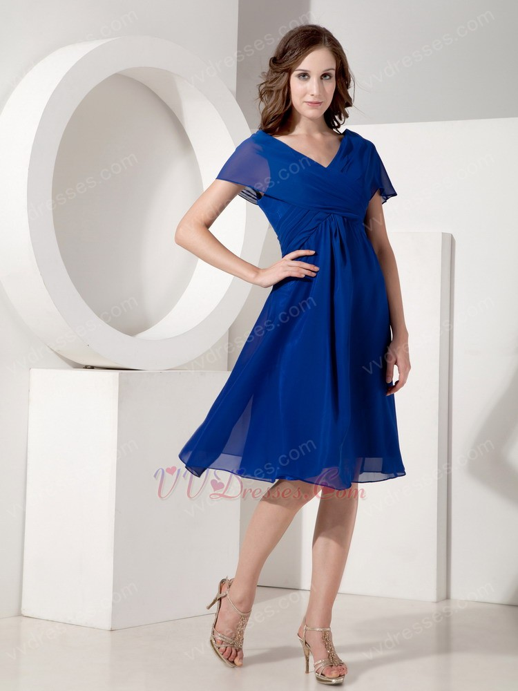 V Neck Royal Blue Mother Of The Bride Dress For Beach Wedding
