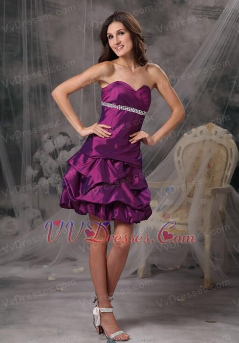 Dark Purple Amaranth Women Wear Prom Dress By Taffeta Knee