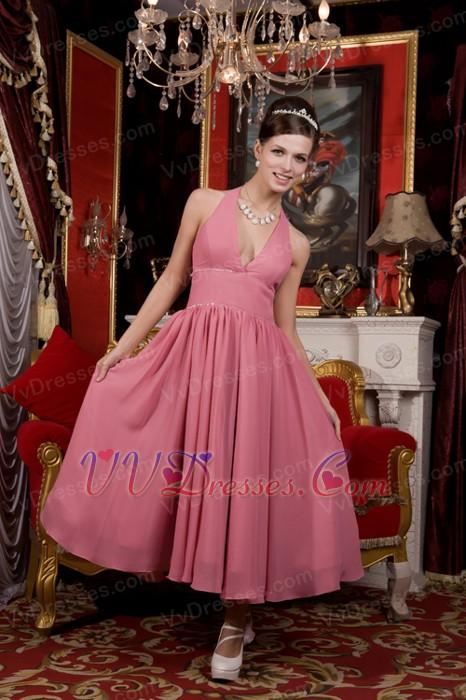 Pink Chiffon Tea Length Dress