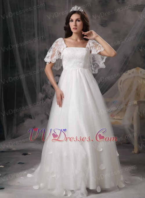 Angel wing designer perfect square lace bridal dress for Angel wings wedding dress