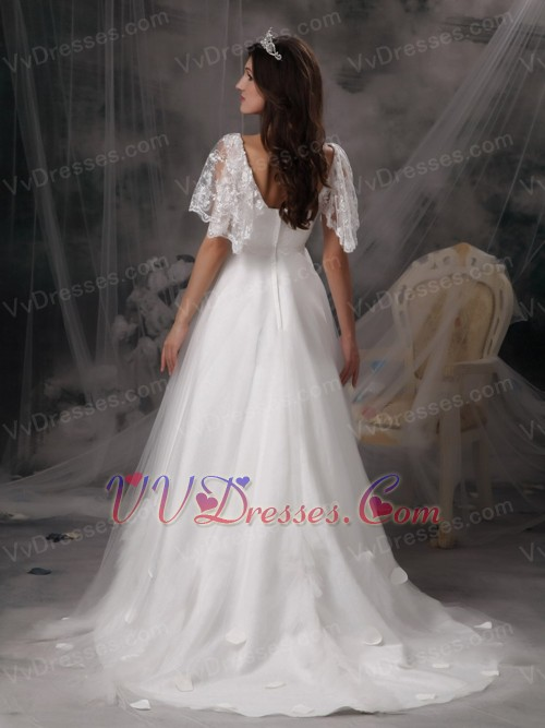 Angel wing designer perfect square lace bridal dress for Designer maternity wedding dresses