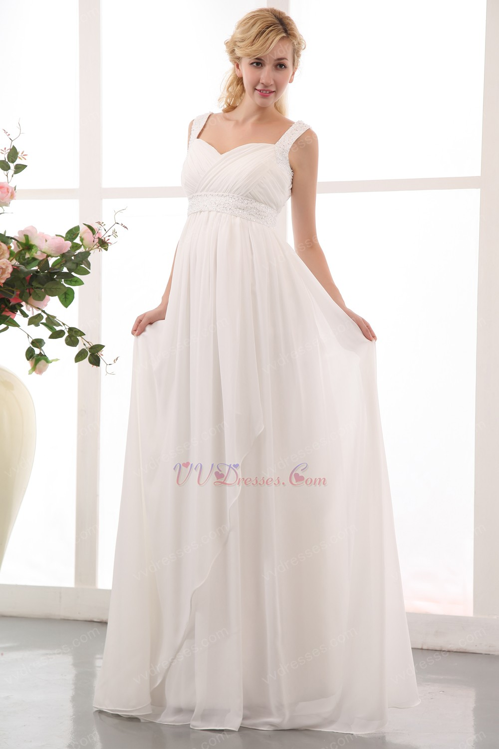Ivory chiffon maternity dress for bride wear straps ivory chiffon maternity dress for bride wear ombrellifo Image collections
