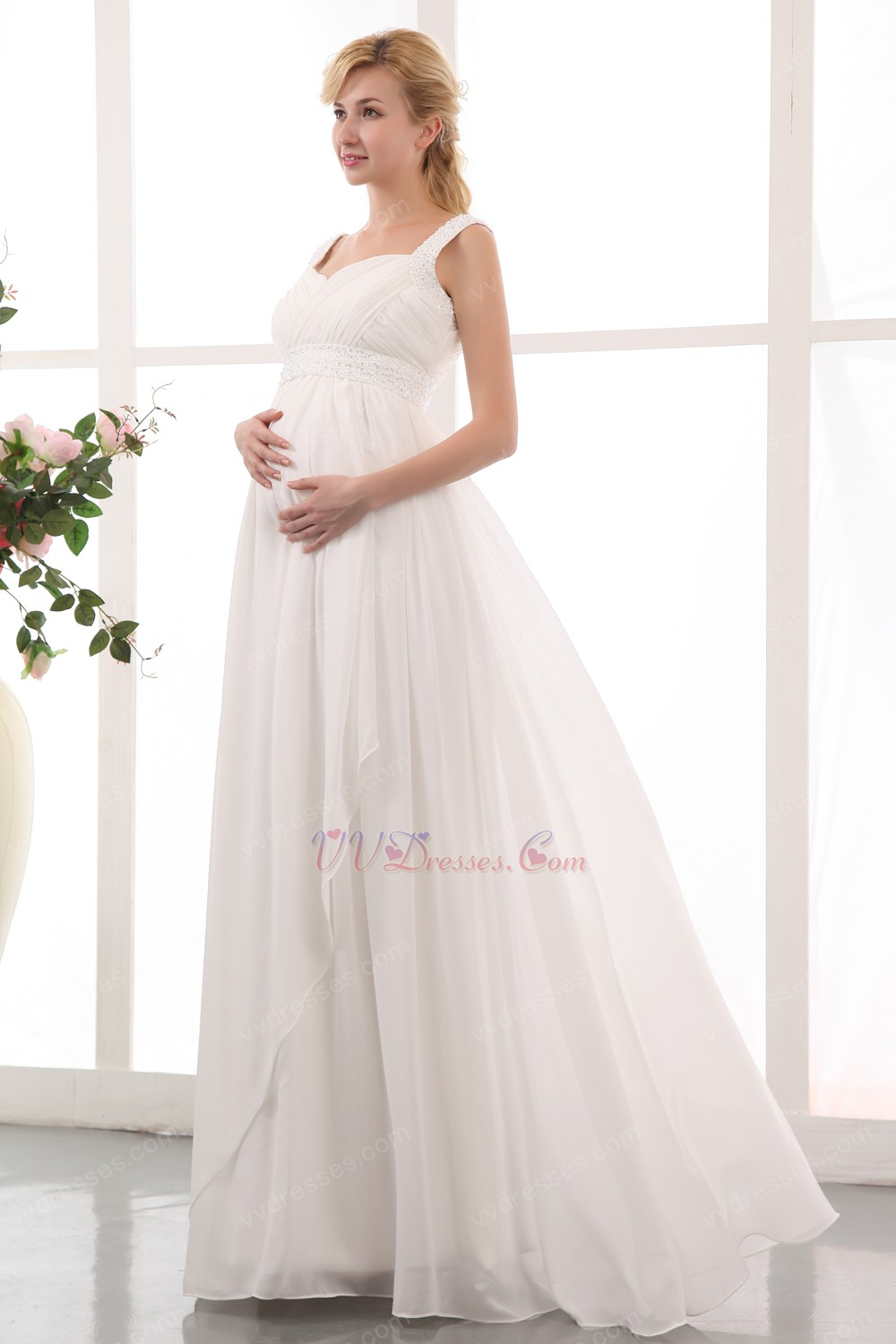 Straps ivory chiffon maternity dress for bride wear straps ivory chiffon maternity dress for bride wear powered by magic zoom move your mouse over image ombrellifo Image collections