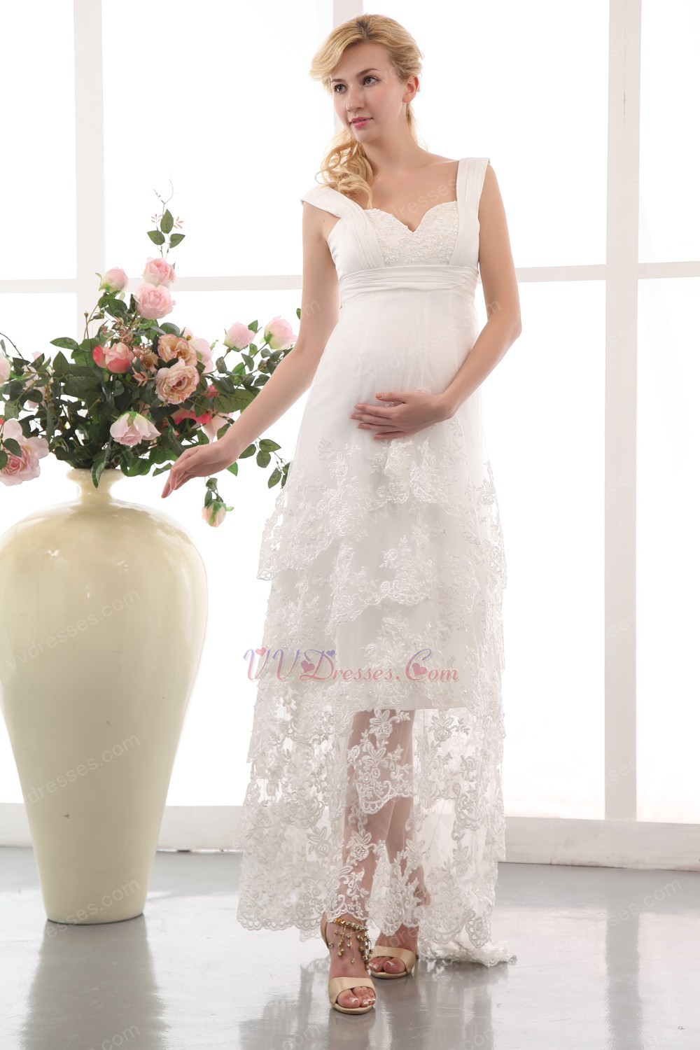 High Low Layers Maternity Wedding Dress With Applique