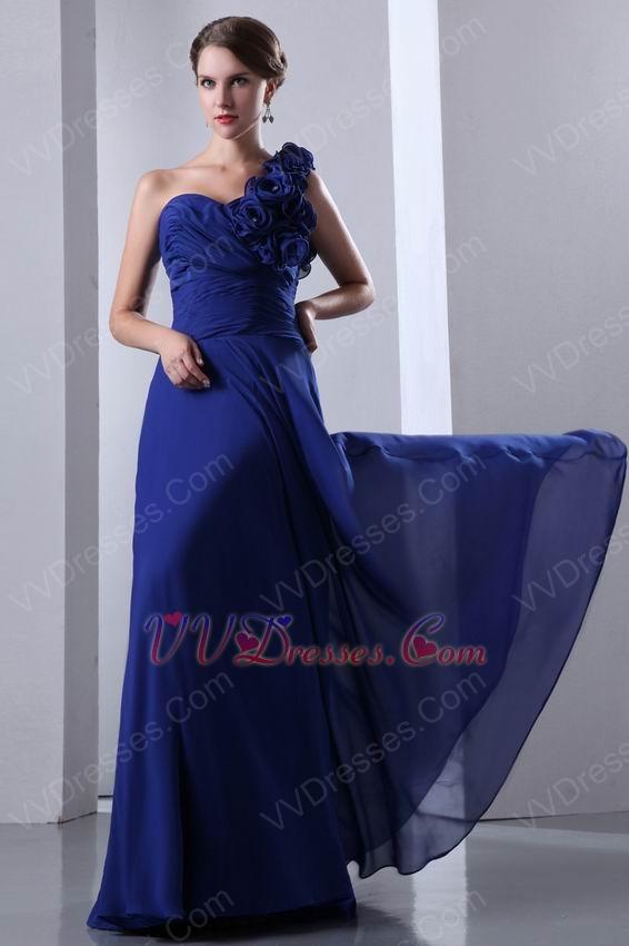 One strap royal blue prom dresses