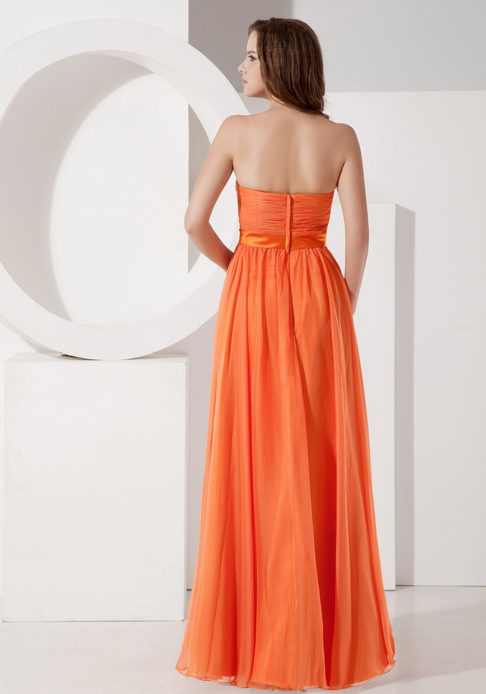 Sun Orange Chiffon Designer Bridesmaid Dresses 2014 Summer