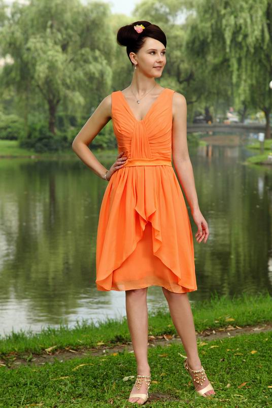 Outdoor wedding party orange bridesmaid dress 2014 for Pink and orange wedding dresses