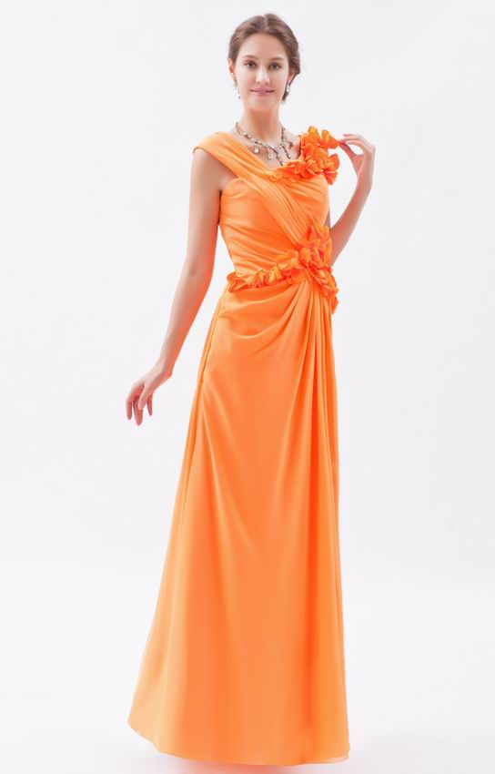 Beautiful V Neck Bright Orange Chiffon Prom Dress With