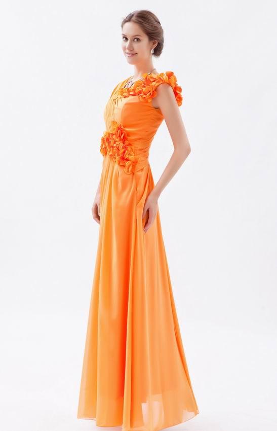 Beautiful V Neck Bright Orange Chiffon Prom Dress With
