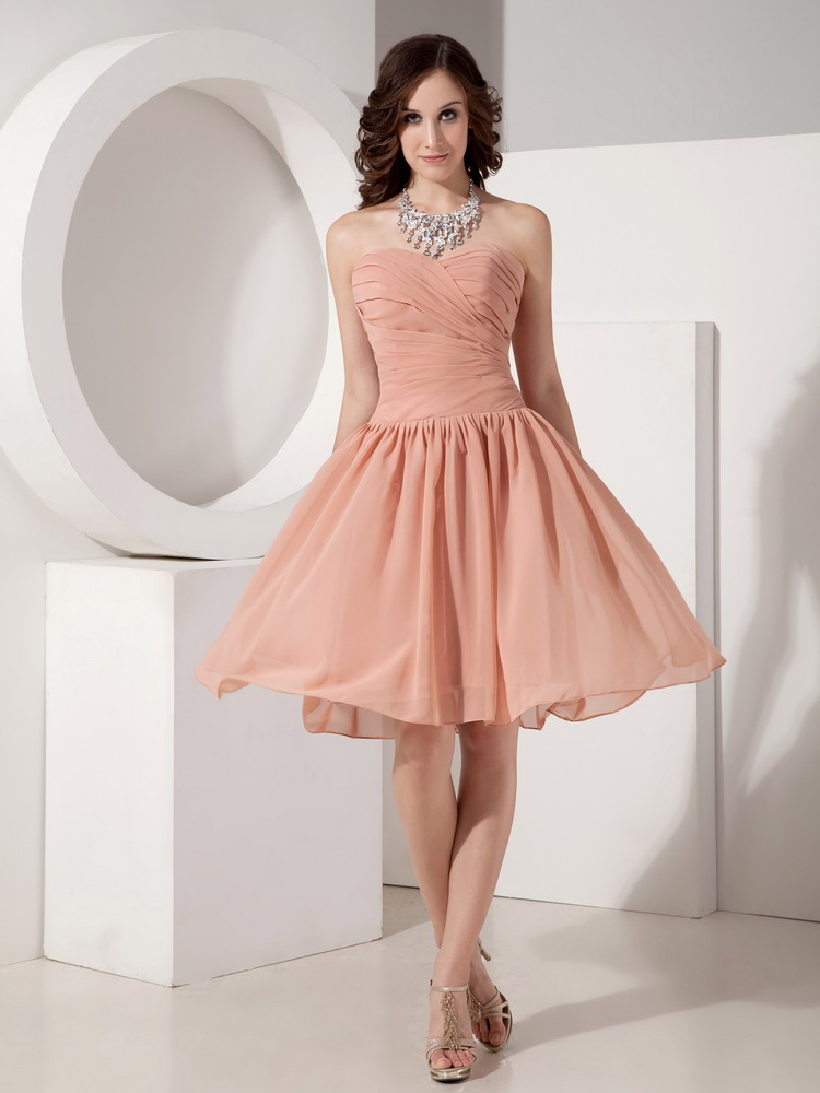 Hot Simple Top Designer Bridal Bridesmaid Dress In Light Orange