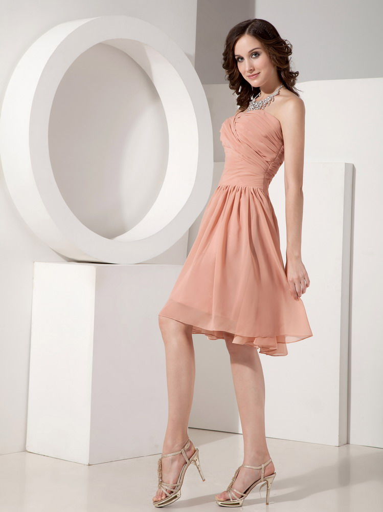 Simple Top Designer Bridal Bridesmaid Dress In Light Orange