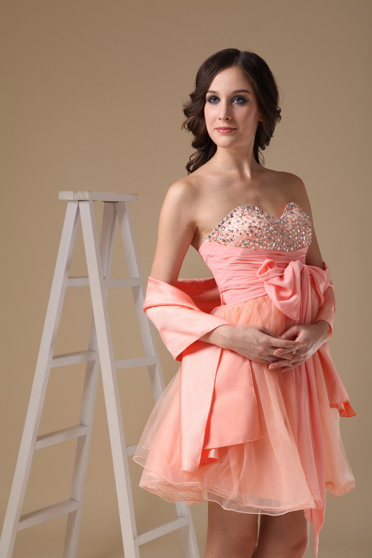f67595594569 Cute Orange Pink Sweet Sixteen Dress With Shawl