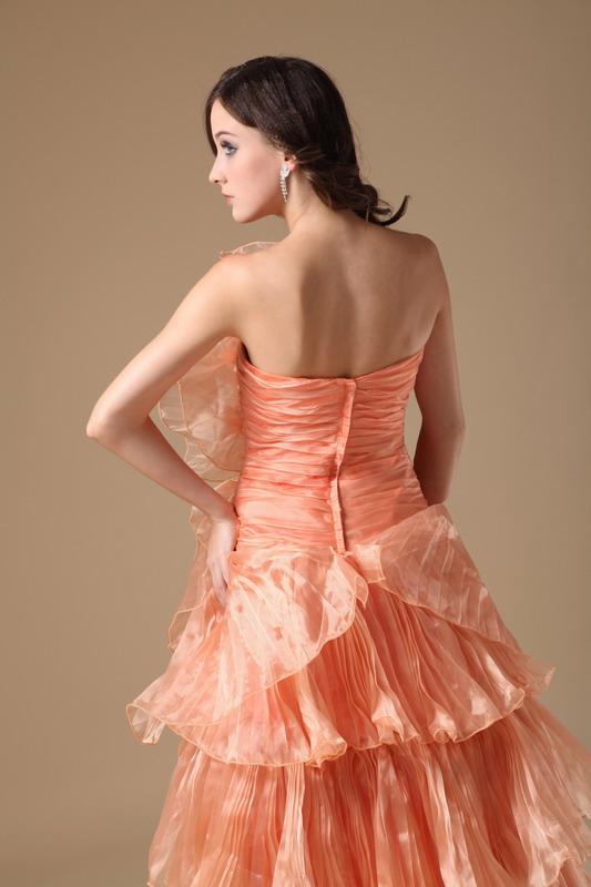 Designer Orange Cascade Skirt A-line Top Designer Prom Dress