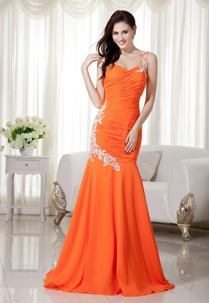 orange mermaid one shoulder chiffon prom dance dress