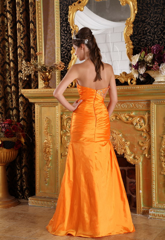 pretty sheath orange taffeta 2014 prom party dress