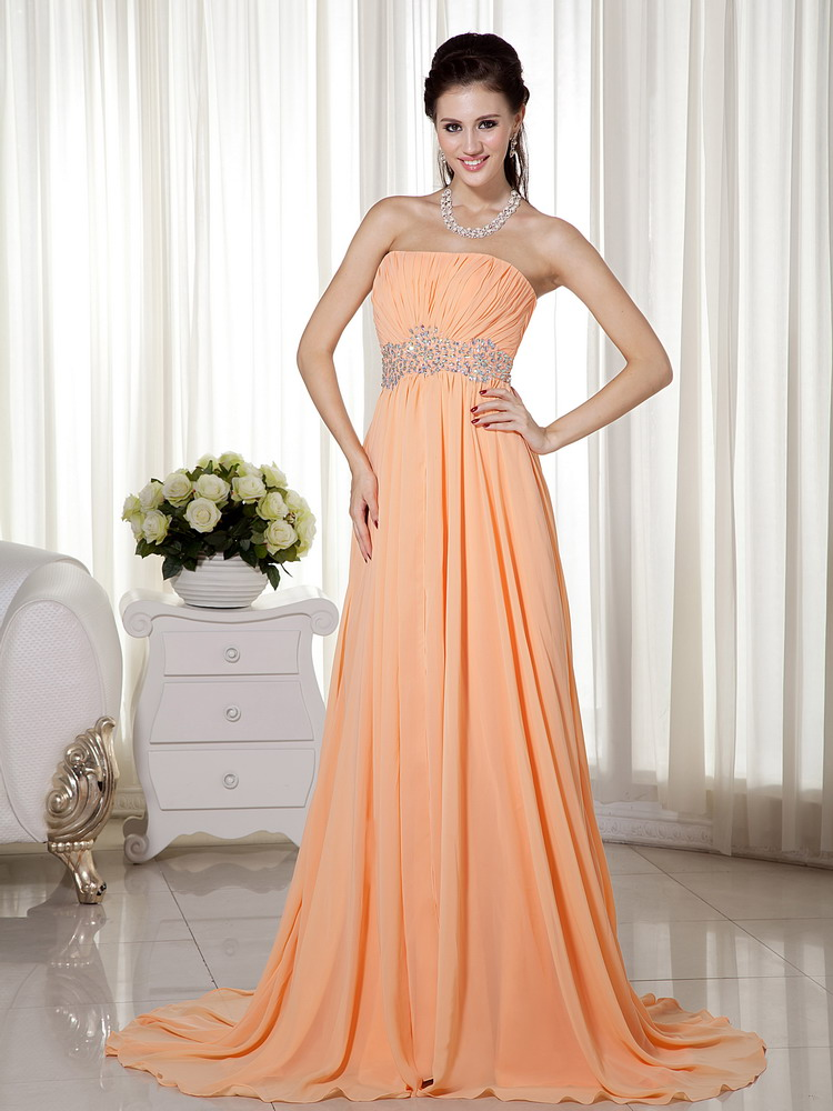 strapless sleeveless apricot orange chiffon dress