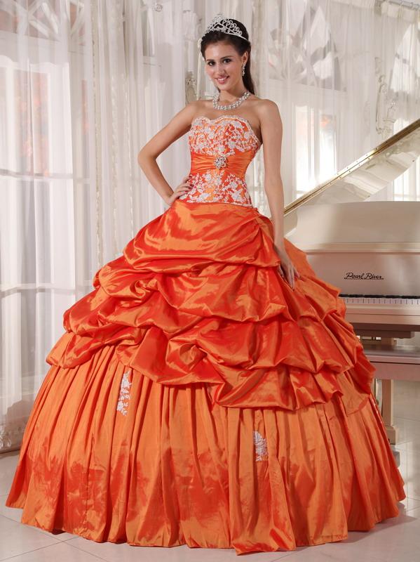 Inexpensive Floor Length Orange Bat Bitzvah Ball Gown