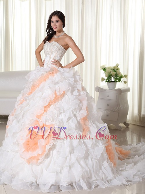 White With Peach Big Puffy Quinceanera Dress With Train
