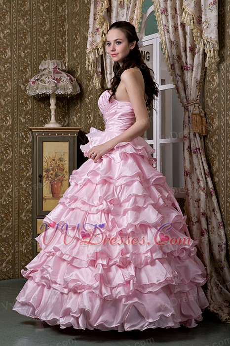 Baby Pink One Shoulder Ruffled Layers Quinceanea Dress