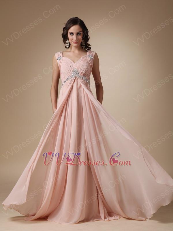 Straps V Neck Backless Bisque Chiffon Top Designer Prom Dress