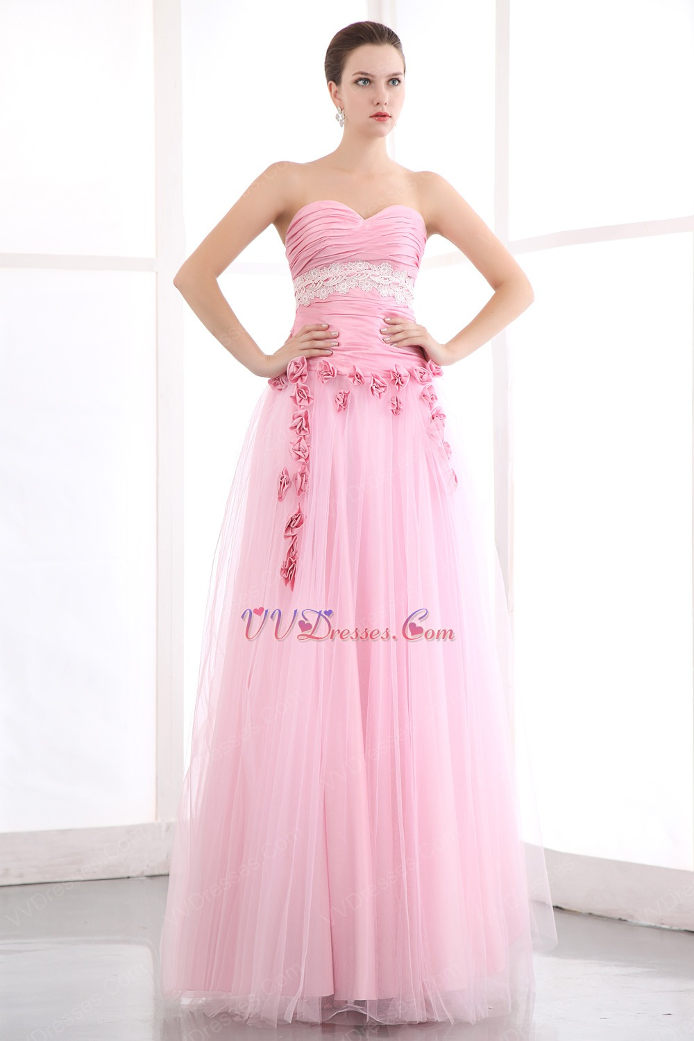 Sweetheart Pink Net Skirt Prom Dress With Flowers Decorate