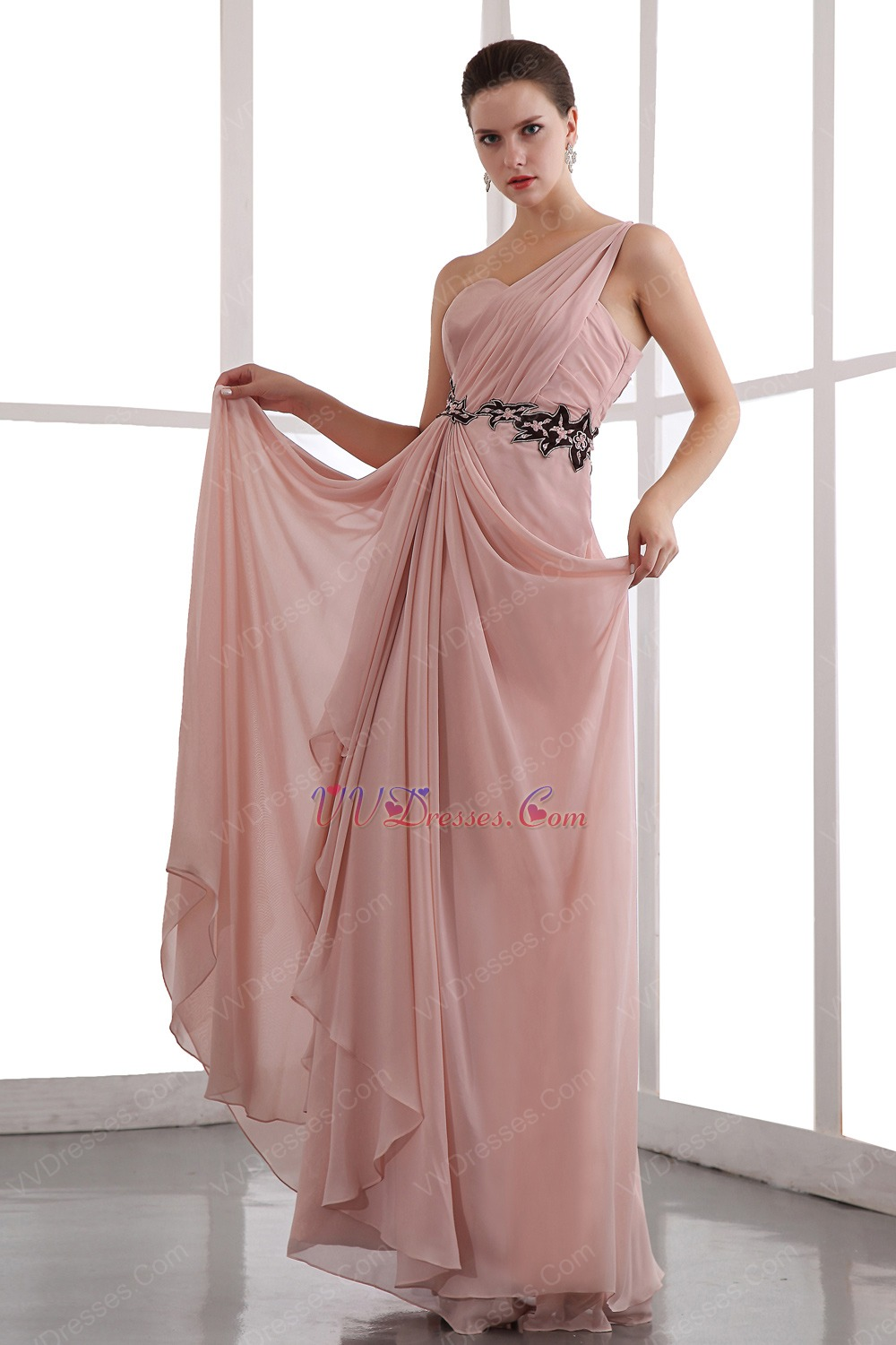not expensive one shoulder light coral chiffon prom dress