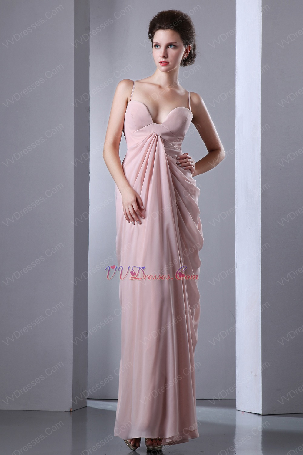 Straps Column Floor-Length Pearl Pink Skirt Prom Dress