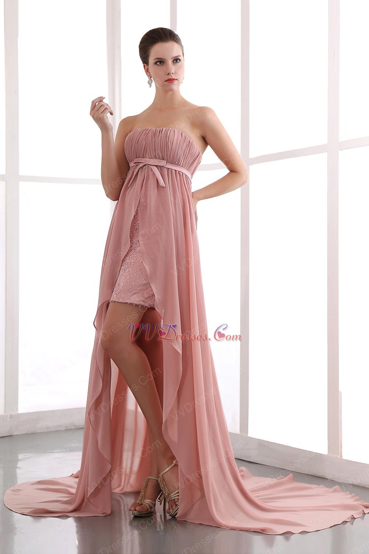 Salmon Pink Custom Fit Ruched High Low Chiffon Prom Dress