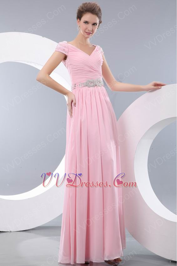 V-neck A-line Baby Pink Floor Length Chiffon Skirt Prom Dress
