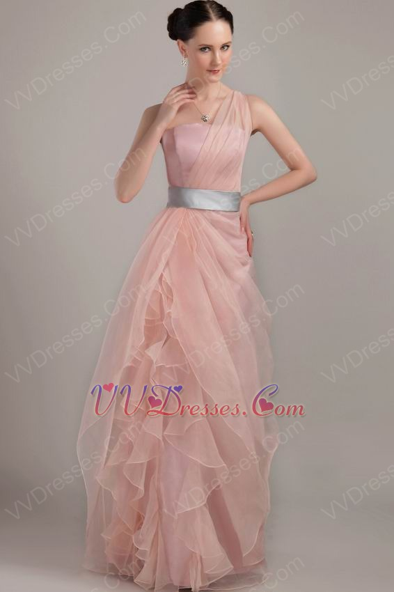 One Shoulder Ruffles Skirt Pink Prom Dress With Silver Belt