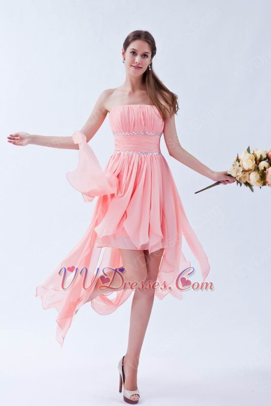 Drapping Skirt Asymmetrical Pink Cocktail Party Dress