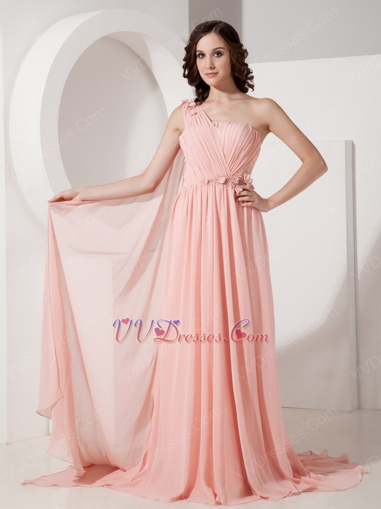 One Shoulder Watermelon Pink Watteau Train Prom Dress 2014