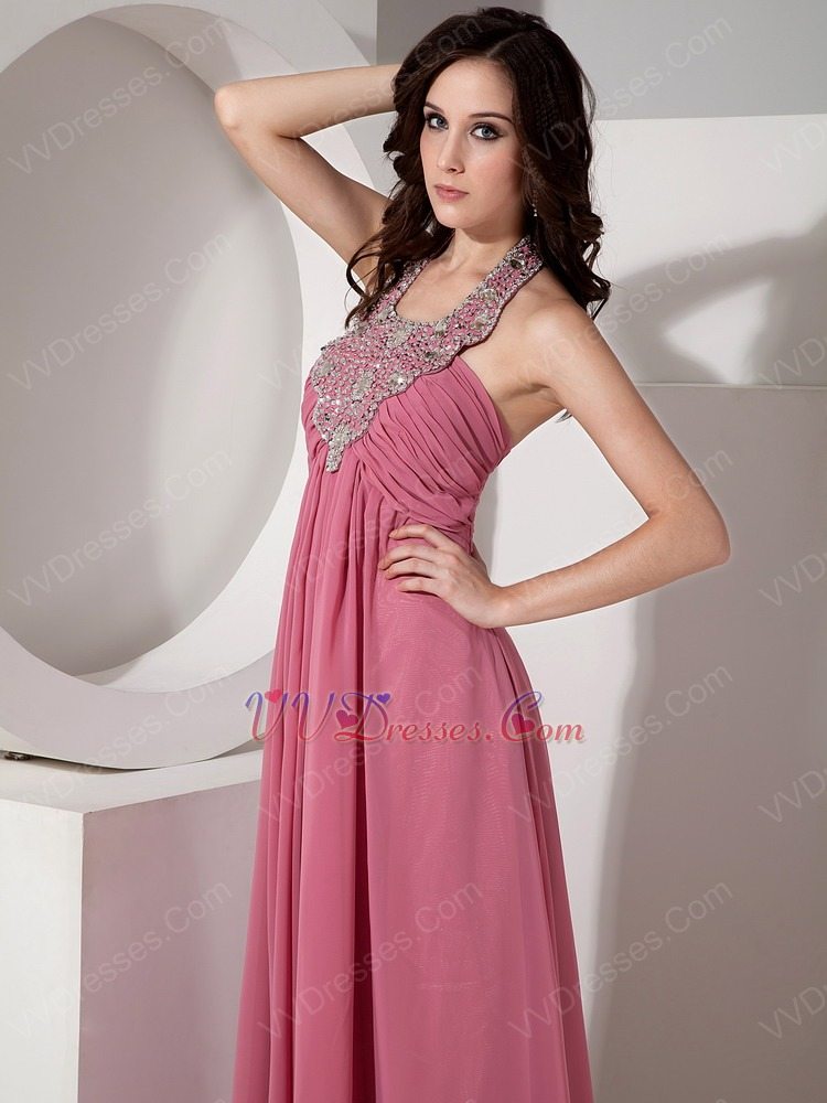 Coral Pink Prom Dress With Beaded Halter Floor Length Skirt