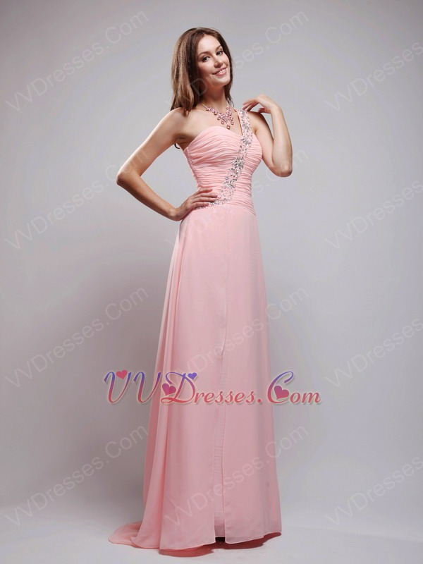 Pink Chiffon A Evening Dress With One Shoulder Skirt