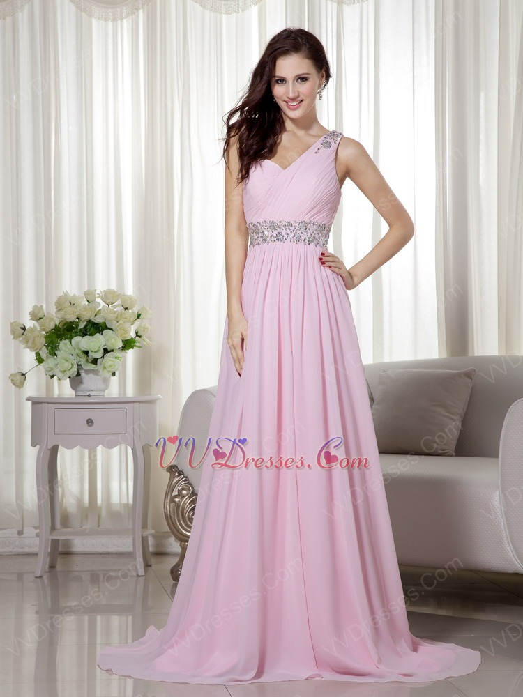 Cute Baby Pink One Shoulder Chiffon Prom Dance Party Dress