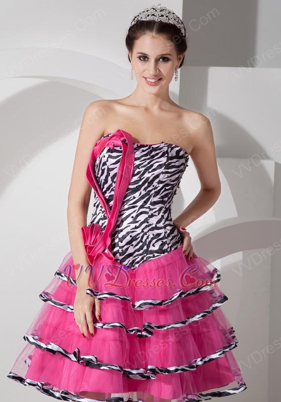 Hot Pink A-line Layers Short Skirt Sweet 16 Dress With Zebra