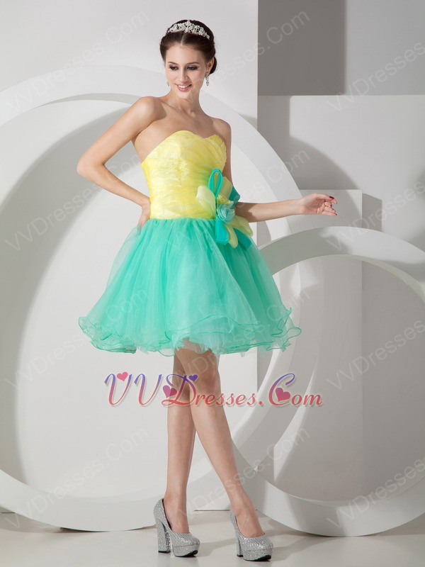 Stylish Spring Green And Bright Yellow Contast Color Short Prom Dress