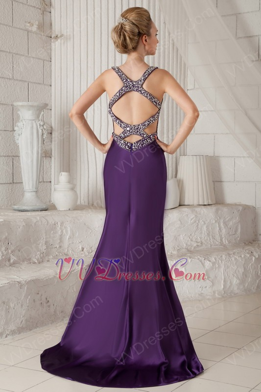 Purple Beading Straps Mermaid Boutiques With Prom Dresses