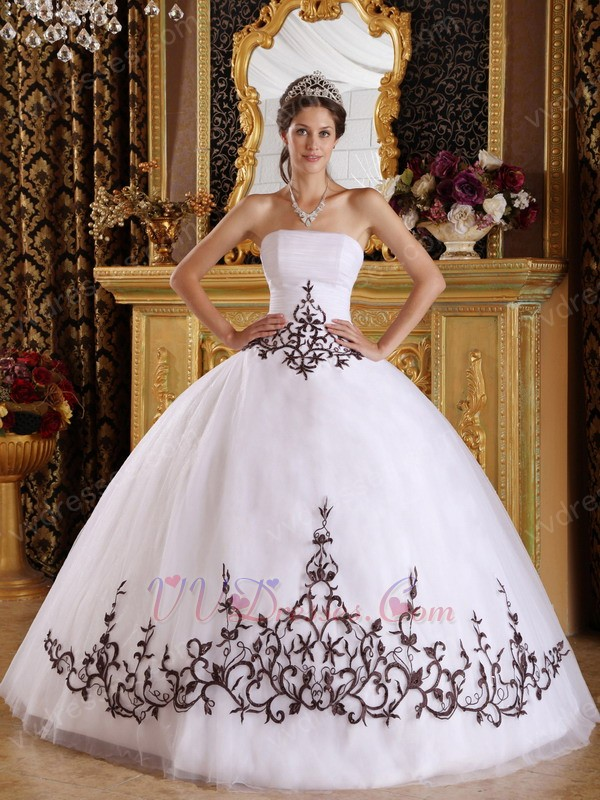 White Quinceanera Dress With Brown Embroidered Skirt