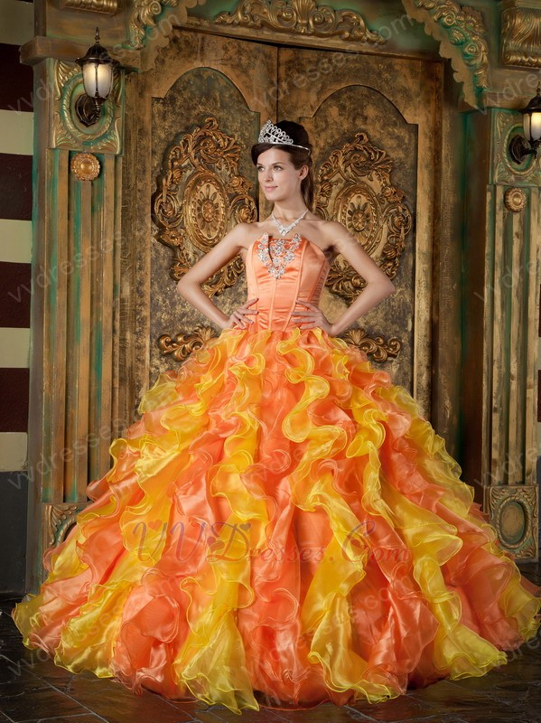 Yellow And Orange Contrast Cascade Skirt Quinceanera Ball ...
